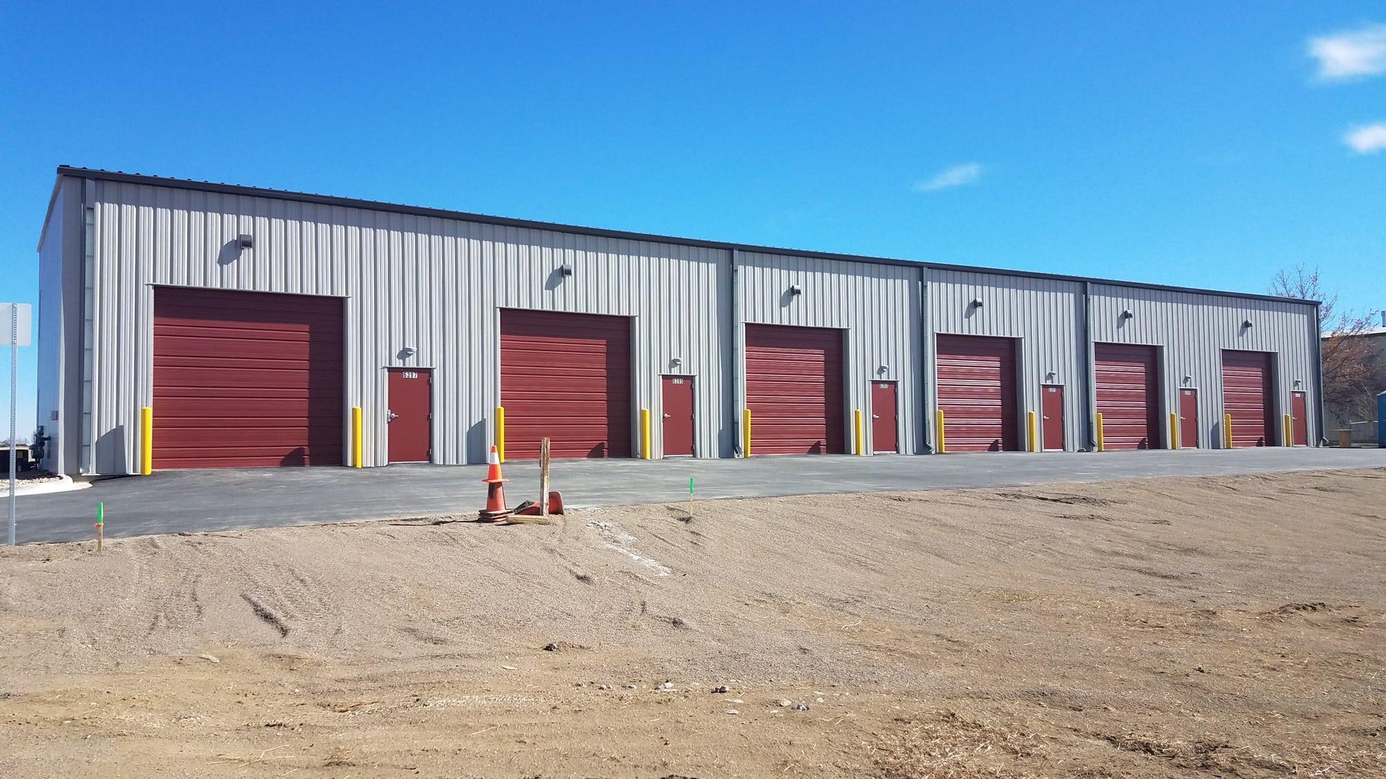 New steel building with oversized garage doors